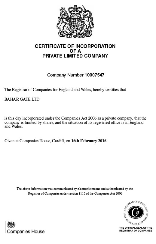 Incorporation Certificate of Bahar Gate LTD